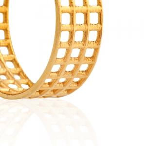 עגילי גריד מצופים זהב