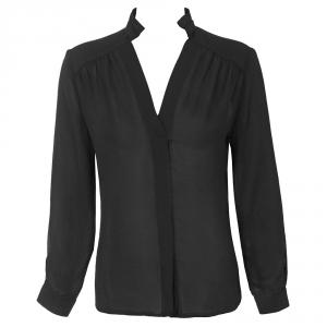 חולצת שיפון משי שחורה